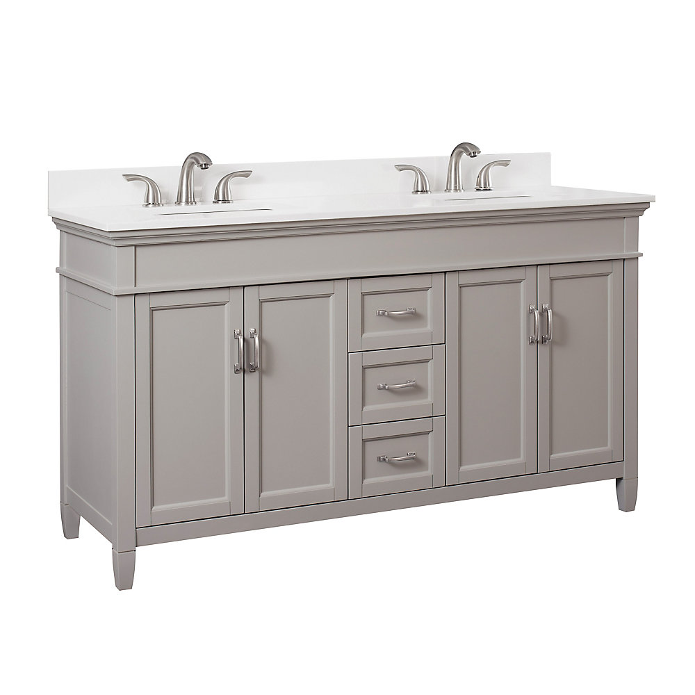 Ashburn 60 inch Vanity Combo in Grey with Lily White Engineered Stone Top