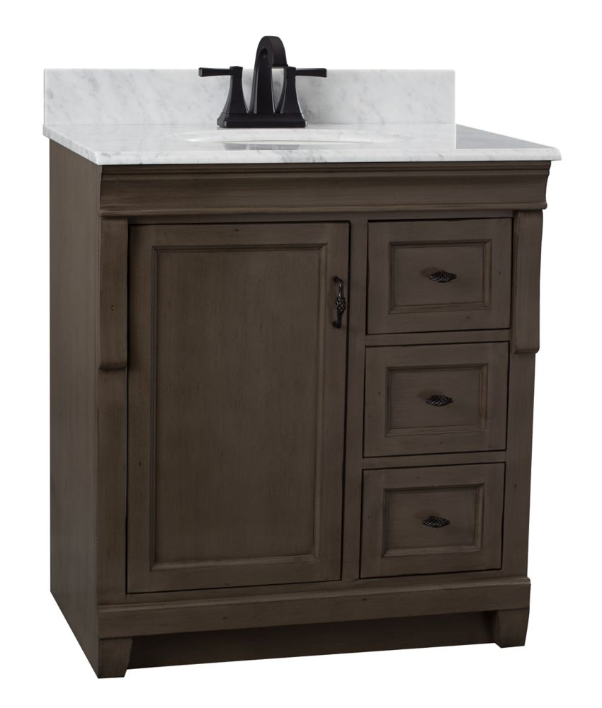 Foremost Naples 31 inch Vanity Cabinet in Distressed Grey with Marble Vanity Top in Carrara White