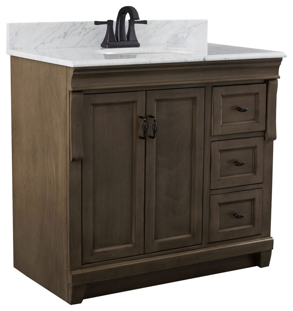 Foremost Naples 37 inch Vanity Cabinet in Distressed Grey with Marble Vanity Top in Carrara White