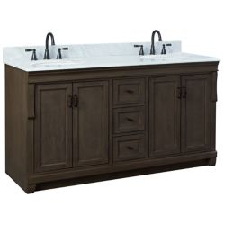 Foremost Naples 61in Vanity Combo in Antique Walnut with Carrara White Marble Top