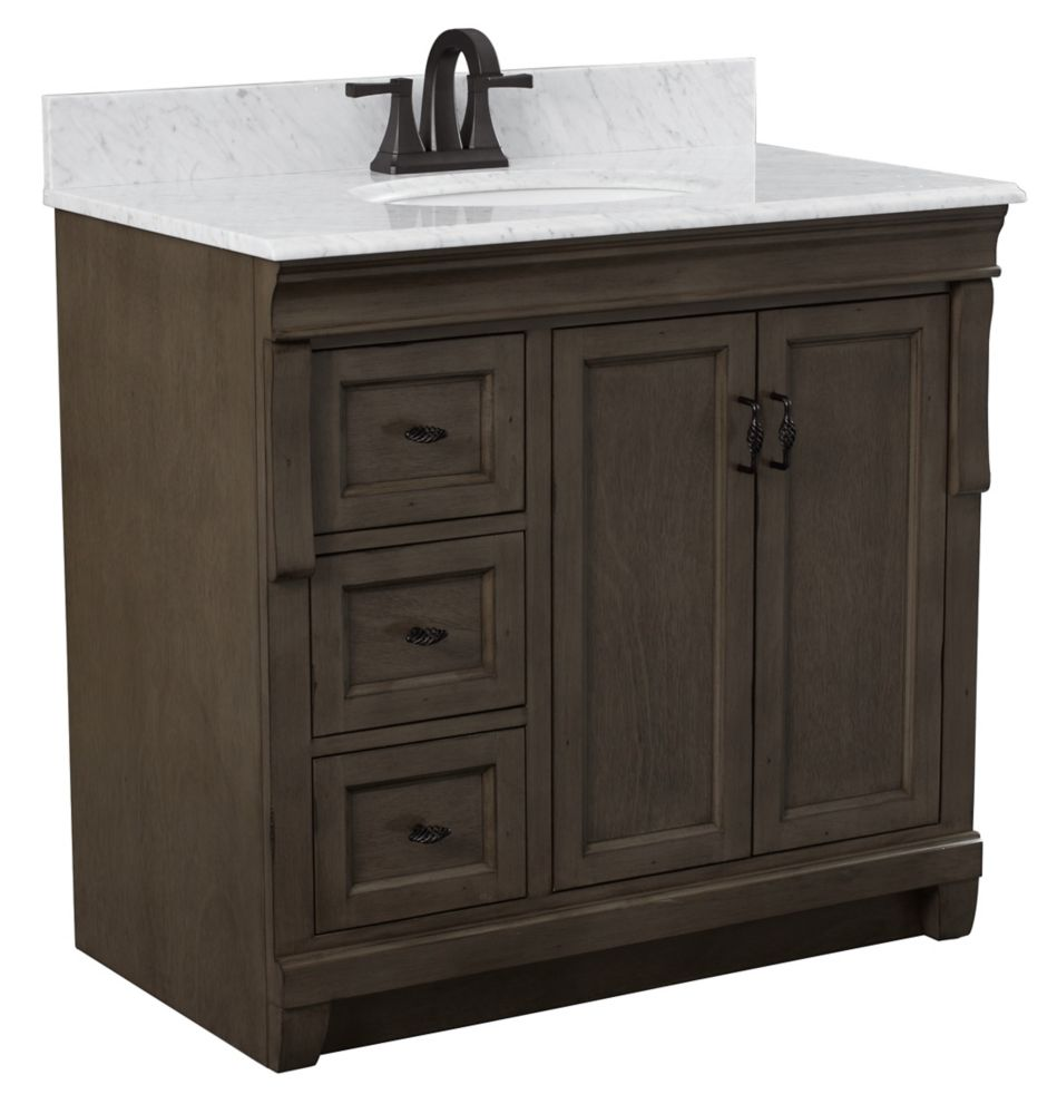 Foremost Naples 37in Vanity Combo in Antique Walnut with Tempest Black Granite Top