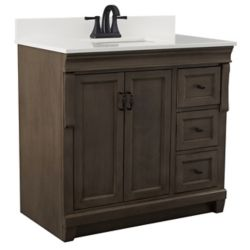 Foremost Naples 37in Vanity Combo in Antique Walnut with Lily White Engineered Stone Top