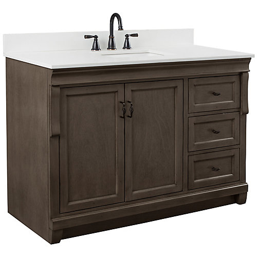 Naples 49in Vanity Combo in Antique Walnut with Lily White Engineered Stone Top
