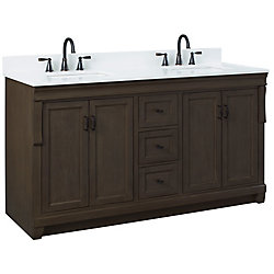 Foremost Naples 61in Vanity Combo in Antique Walnut with Lily White Engineered Stone Top