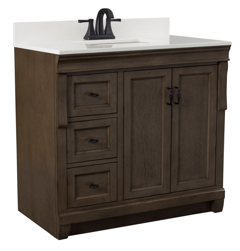 Foremost Naples 37 inch Vanity in Distressed Grey With Left Hand Drawers & Engineered Stone Top in Lily White