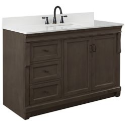 Foremost Naples 49in Vanity Combo in Antique Walnut with Lily White Engineered Stone Top