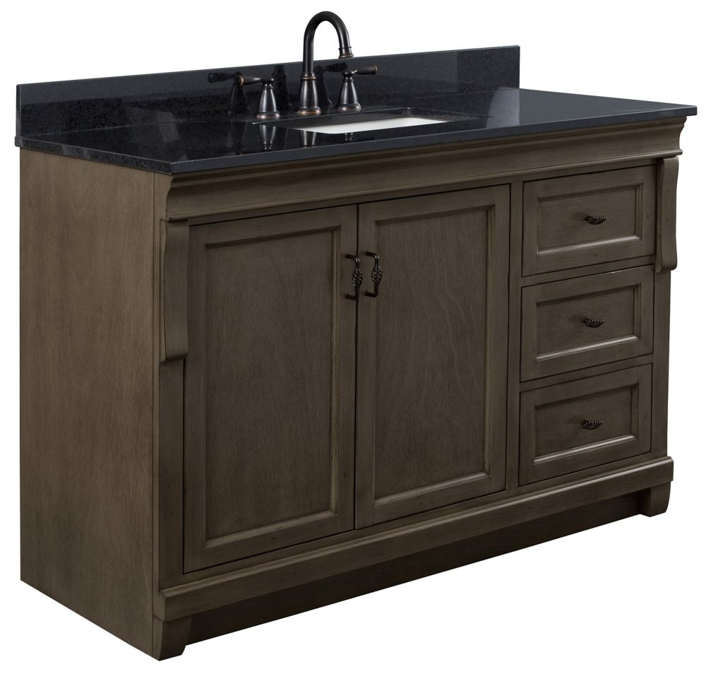 Foremost Naples 49in Vanity Combo in Antique Walnut with Tempest Black Granite Top