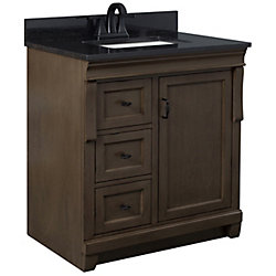 Foremost Naples 31in Vanity Combo in Antique Walnut with Tempest Black Granite Top