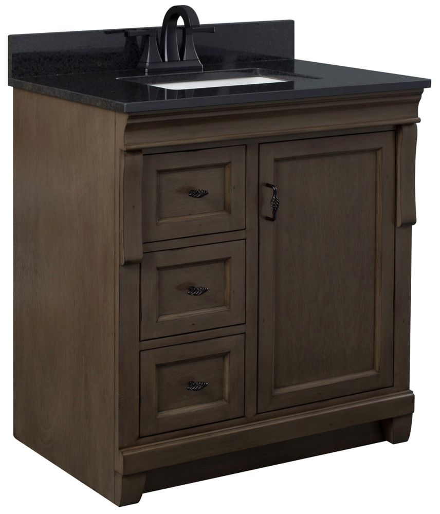 Foremost Naples 31in Vanity Combo in Antique Walnut with Lily White Engineered Stone Top