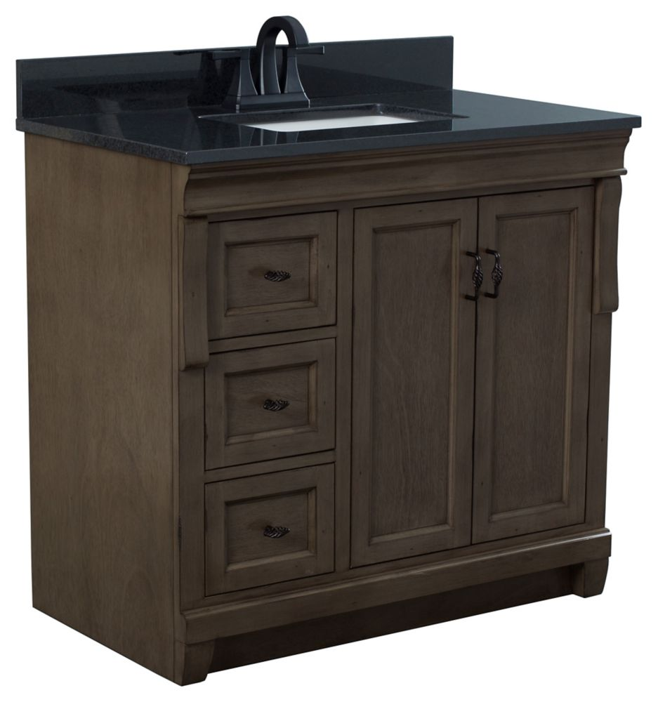 Foremost Naples 37 inch Vanity in Distressed Grey With Left Hand Drawers and Granite top in Tempest Black