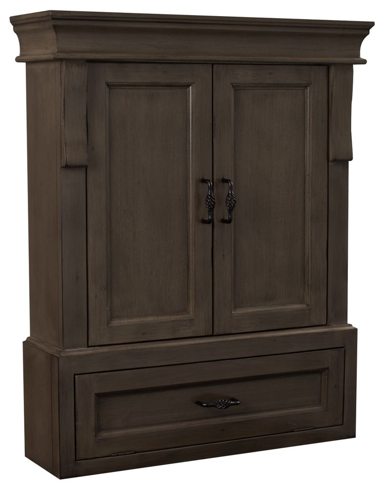 Foremost Naples 26in Wall Cabinet in Antique Walnut