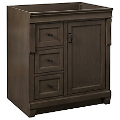 Naples 30 inch Vanity Cabinet in Distressed Grey With Left Hand Drawers
