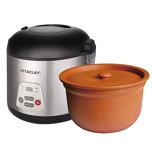 Cuiseur pour le riz et mijoteuse 2 en 1 avec pot en argile à haute température de Vitaclay®.