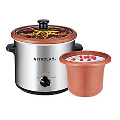 2 in 1 Yogurt Maker/Personal Slow Cooker with High-Fired Clay Pot