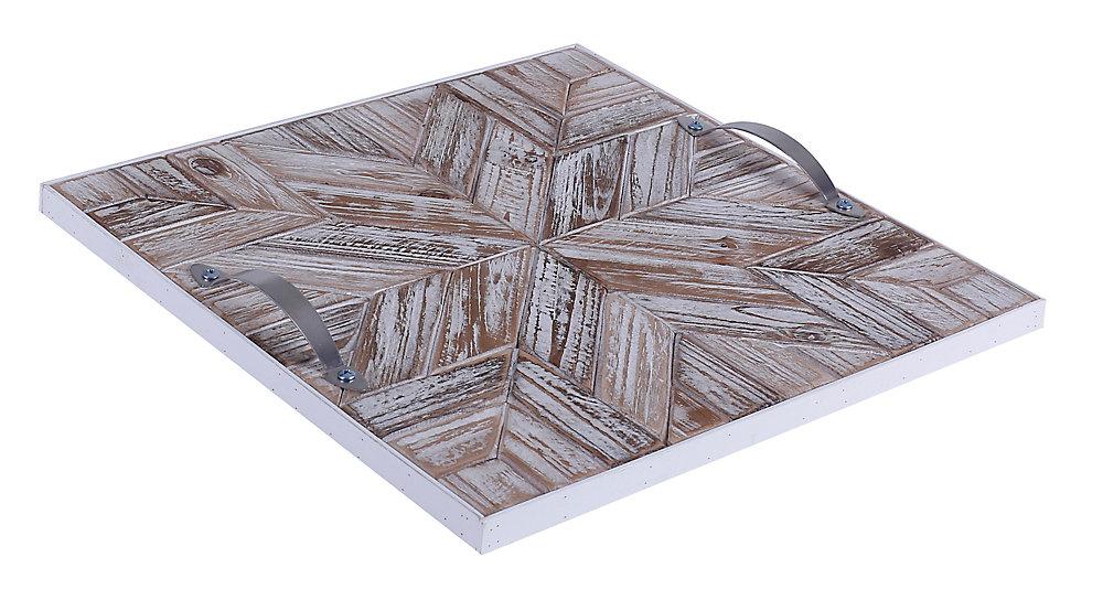 14.5x14.5x1.5 STAR, plateau en bois avec motif