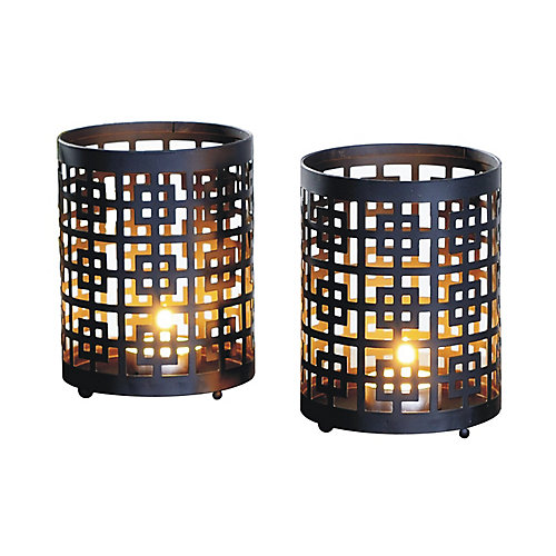 4x5 GRID, Metal Candle Holder (Set of 2)
