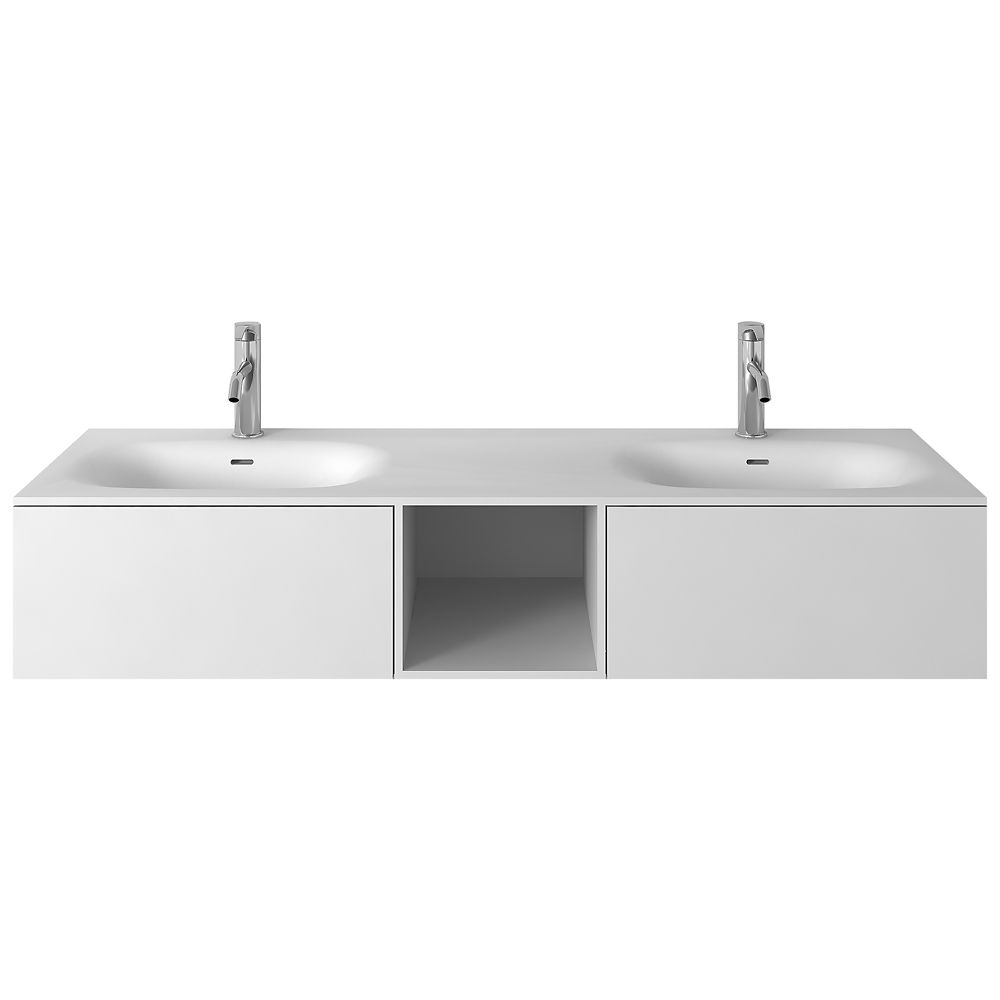 Jade Bath Valera II 60 Inch Double Wall-Mounted Bathroom Vanity with Integrated Towel Bar