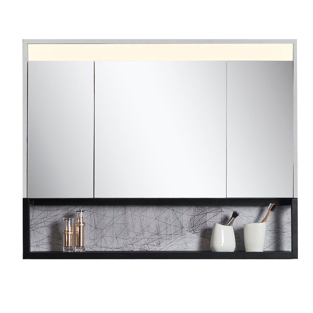 Armoire Miroir Ella 40 po. x 32 po. avec éclairage LED et tablette intégrée