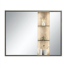 Harlie 40 inch x 32 inch Mirror Cabinet with LED Light and Integrated Shelving