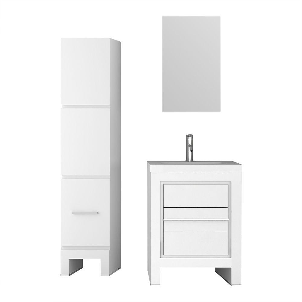 Jade Bath Sloan 28 inch Single Freestanding Modern White Bathroom 3-Piece Vanity Set