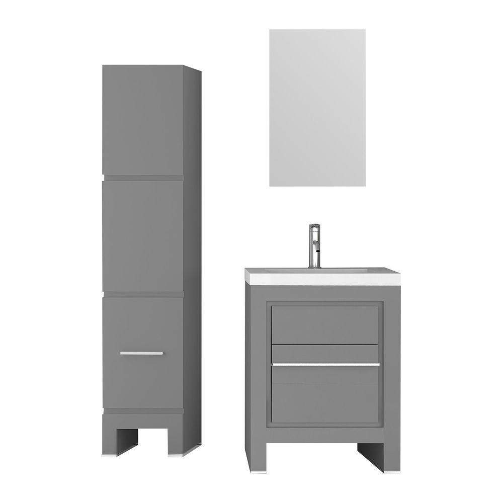 Jade Bath Sloan 28 inch Single Freestanding Modern Grey Bathroom 3-Piece Vanity Set