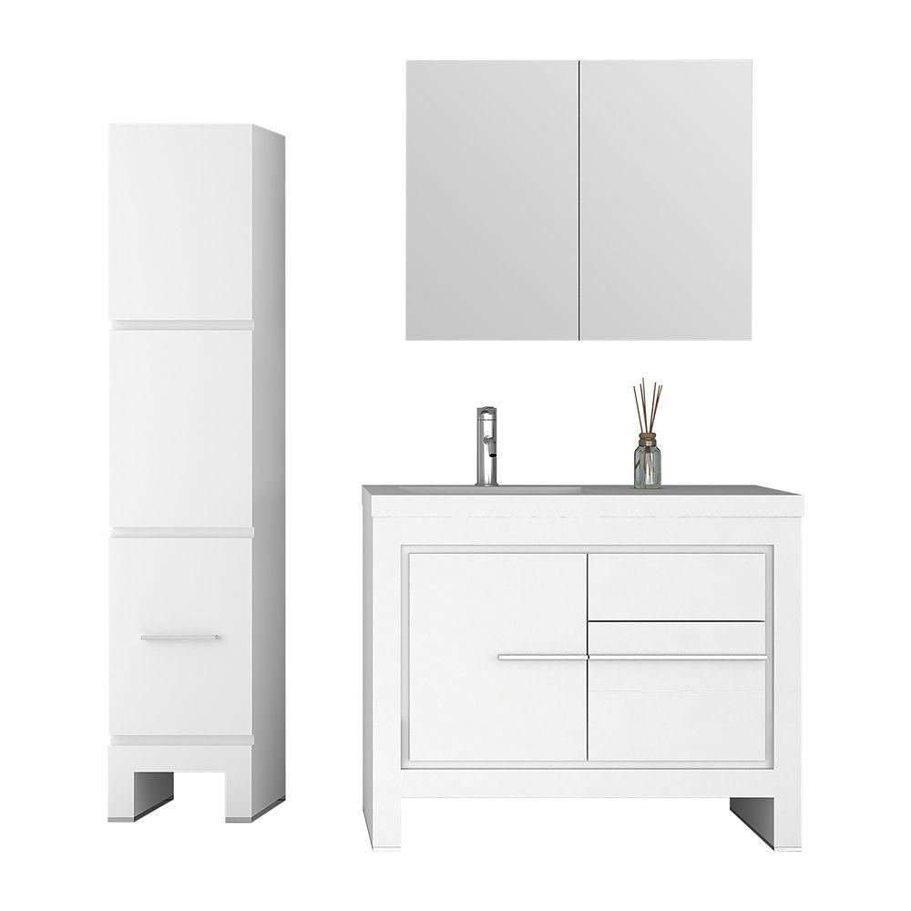 Jade Bath Sloan 40 inch Single Freestanding Modern White Bathroom 3-Piece Vanity Set