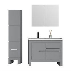 Jade Bath Sloan 40 inch Single Freestanding Modern Grey Bathroom 3-Piece Vanity Set