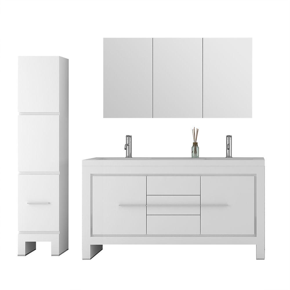 Jade Bath Sloan 60 Inch Double Freestanding Three Piece Bathroom Vanity Set In White With Mirror