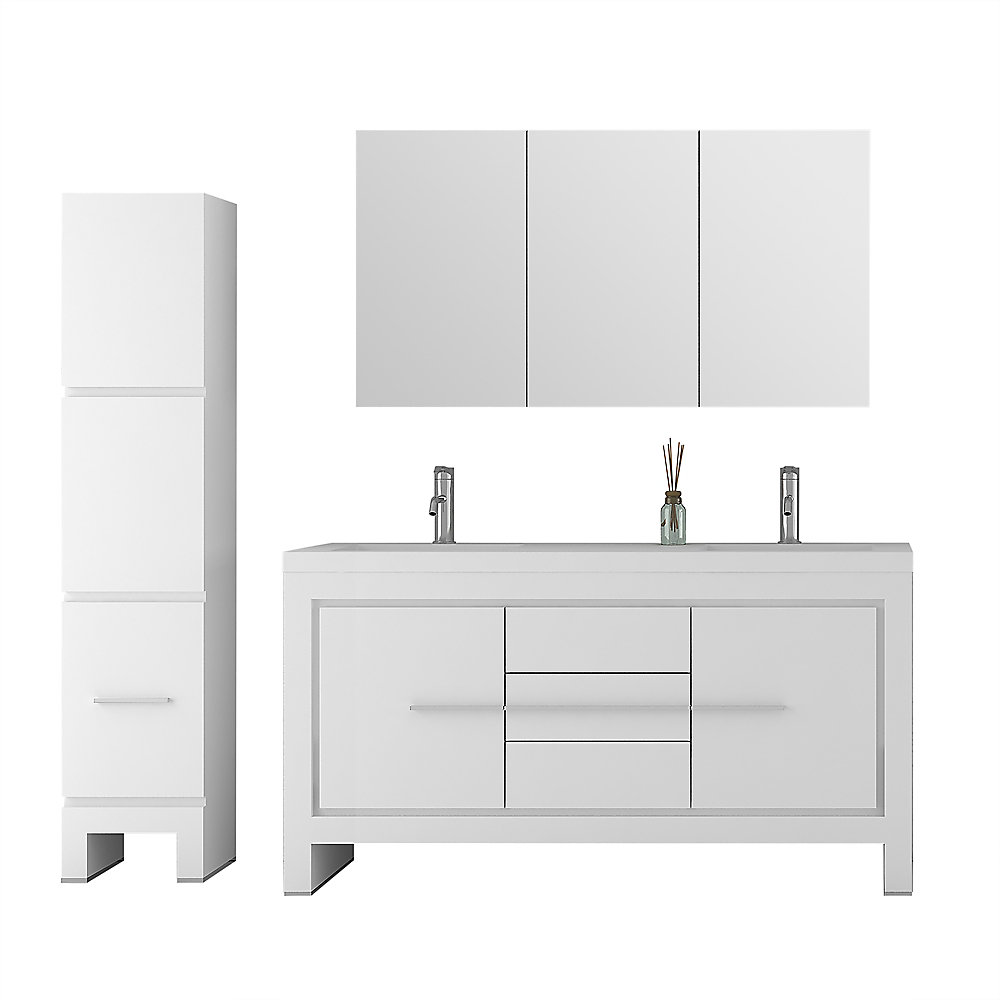 Phenomenal Sloan 60 Inch Double Freestanding 3 Piece Bathroom Vanity Set In White With Mirror And Cabinet Download Free Architecture Designs Scobabritishbridgeorg