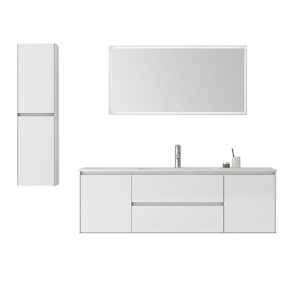 Jade Bath Morgan 60 inch Double Wall-Mounted White Bathroom Three-Piece Vanity Set with Mirror and Cabinet