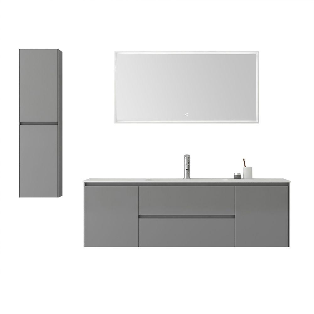 Jade Bath Morgan 63 inch Single Wall-Mounted Modern Grey Bathroom Vanity Set with Basin, LED-Lit Mirror, and Cabinet