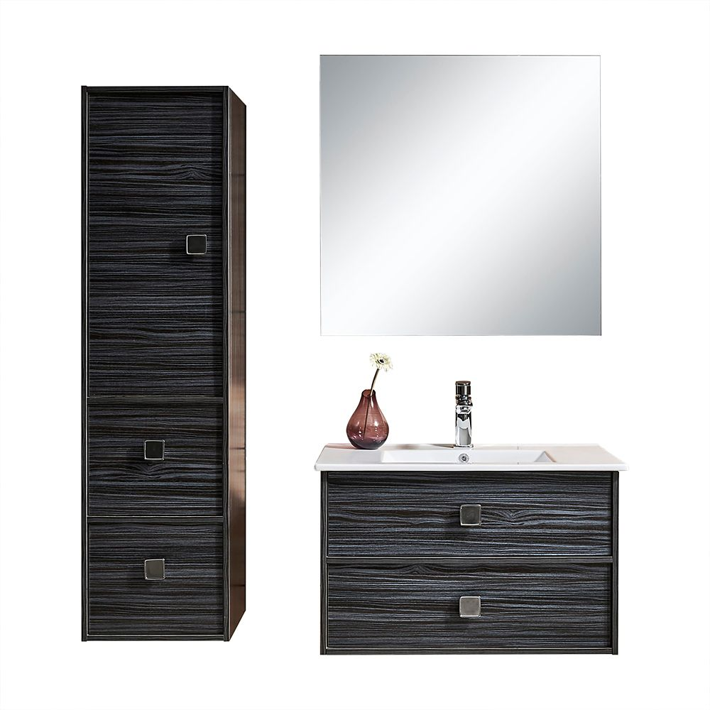 3 Piece Vanity Set.Joan 32 Inch Single Wall Mounted Modern Bathroom 3 Piece Vanity Set With Mirror And Cabinet