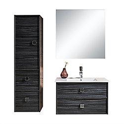 Jade Bath Joan 32 inch Single Wall-Mounted Modern Bathroom 3-Piece Vanity Set with Mirror and Cabinet
