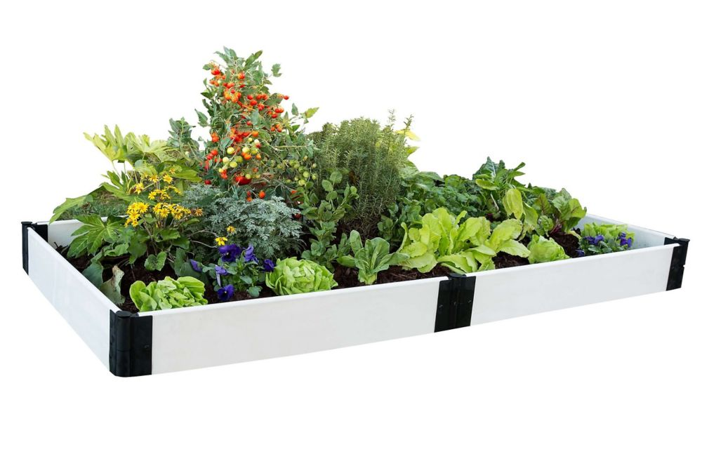 Frame It All Classic White Raised Garden Bed 4 ft. x 8 ft. x 8 inch  1 inch profile