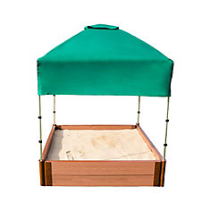 Two Inch Series 4ft. x 4ft. x 11 inch Composite Square Sandbox Kit with Canopy/Cover