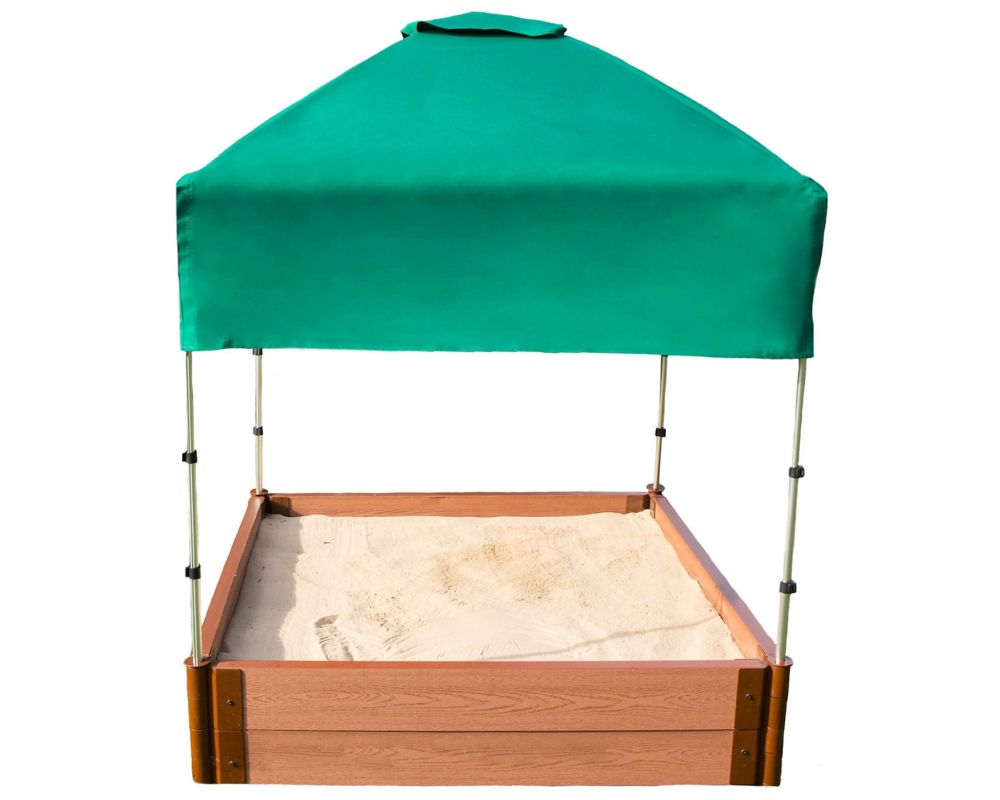 Frame It All Tool-Free Classic Sienna 4ft. x 4ft. x 11 inch Composite Square Sandbox Kit with Telescoping Canopy/Cover - 2 inch profile