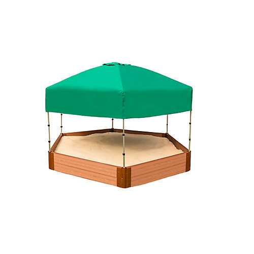 Tool-Free Classic Sienna 7ft. x  8ft. x 5.5 in. Composite Hexagon Sandbox Kit with Telescoping Canopy/Cover - 2po profile