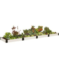 Frame It All Classic White Raised Garden Bed 4 ft. x 16 ft. x 8 inch 1 inch profile