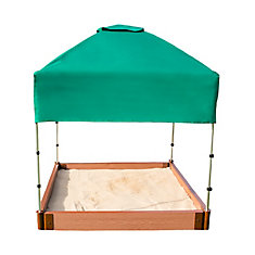Two Inch Series 4ft. x 4ft. x 5.5 inch Composite Square Sandbox Kit with Canopy/Cover