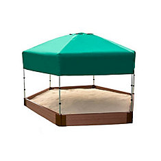 Two Inch Series 7ft. x 8ft. x 5.5 inch Composite Hexagon Sandbox Kit with Canopy/Cover