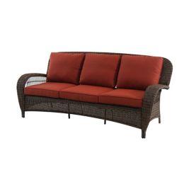 Hampton Bay Beacon Park Wicker Outdoor Sofa with Orange Cushions
