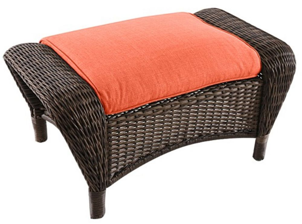 Hampton Bay Beacon Park Wicker Outdoor Ottoman with Orange Cushion