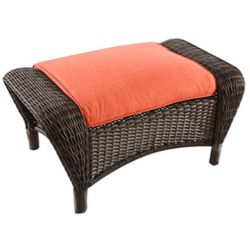Hampton Bay Beacon Park Wicker Patio Ottoman with Orange Cushion