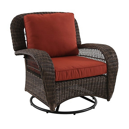 Beacon Park Wicker Swivel Chair with Gliding Function and Orange Cushions