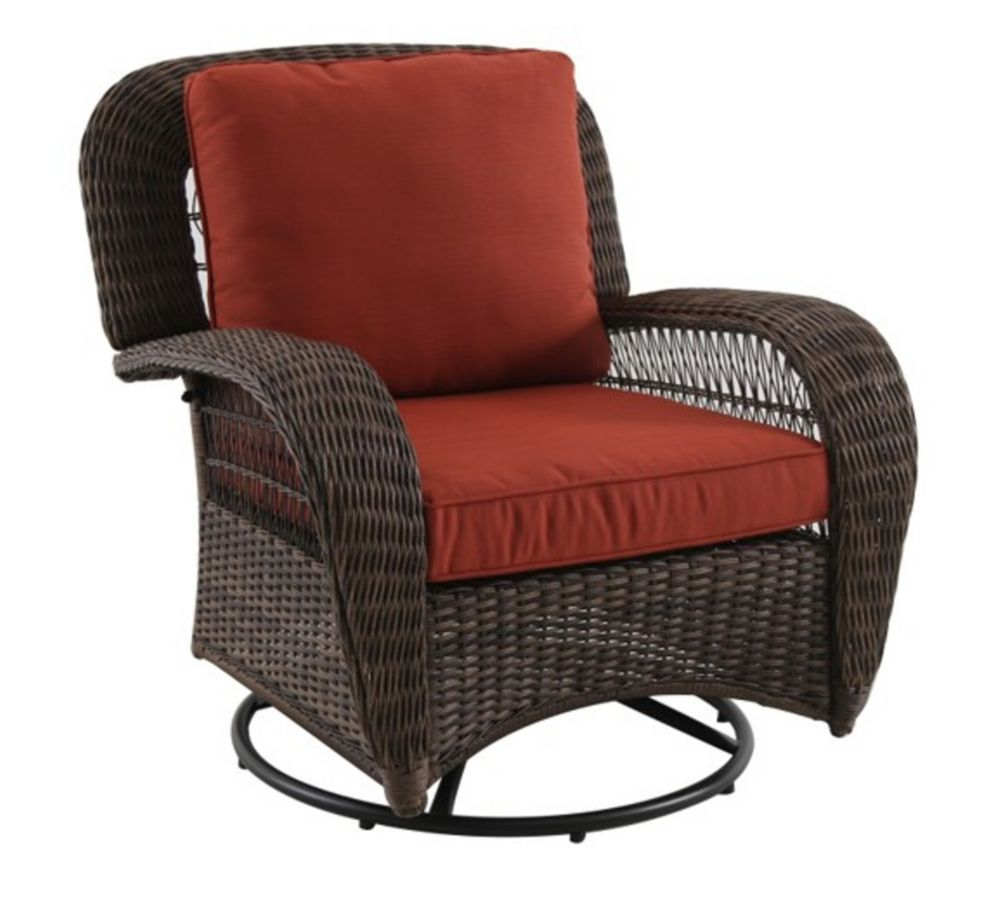 Hampton Bay Beacon Park Wicker Swivel Chair with Gliding Function Orange Cushions