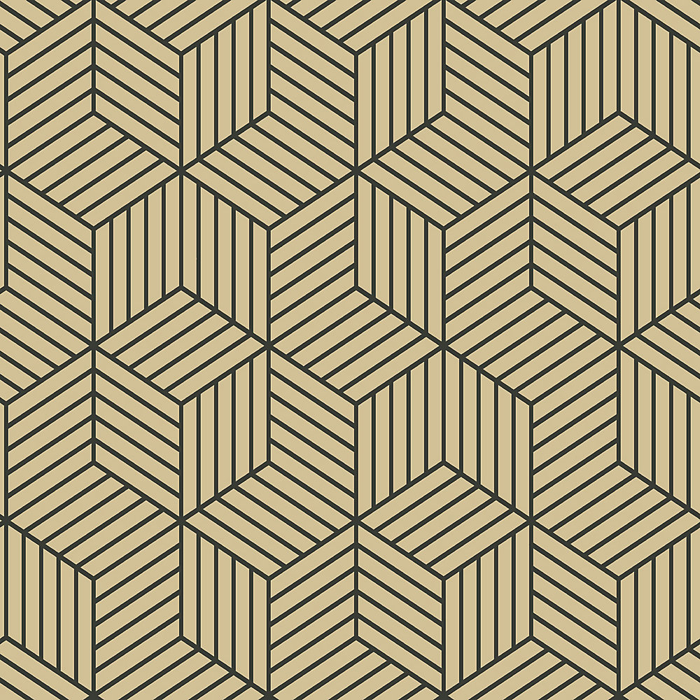 Roommates Stripped Hexagon Goldblack Peel Stick Wallpaper The