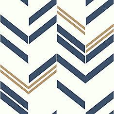 Blue Chevron Stripe Peel & Stick Wallpaper