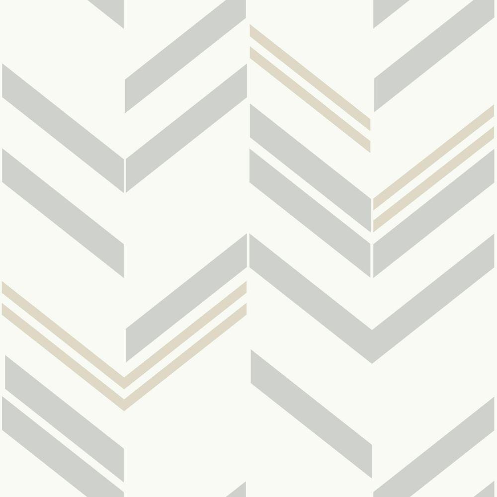 RoomMates Grey Chevron Stripe Peel & Stick Wallpaper