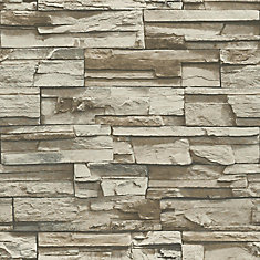 Grey Brown Stacked Stone Peel And Stick Wallpaper