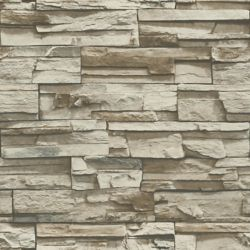 RoomMates Grey/Brown Stacked Stone Peel and Stick Wallpaper